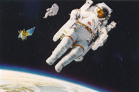 an astronaut floating in space - photo #35