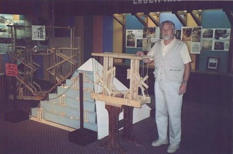 Ron Wyatt standing beside the Pyramid display at the Gatlinburg Museum in 1997