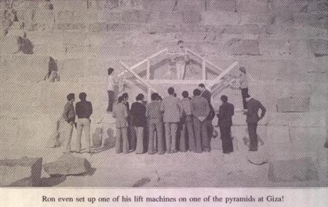 Ron Wyatt demonstrating the pyramid building machine on one of the Giza pyramids